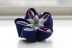 Purple and Mauve Kanzashi Flower Hairclip: Kanzashi Hair Clip £18.00