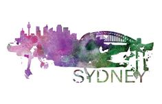 Sydney Australia Skyline Watercolor Art by DreamMachinePrints