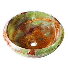 @Overstock - Round Green Brown Onyx Stone Vessel with Tapered Rim - This A Perfect Chisel Collection vessel is made up as these three stones: marble, onyx and granite, all naturally forged from the Earth. This vessel is a visual and tactile experience that adds a feeling of luxury and refinement to any bathroom.  http://www.overstock.com/Home-Garden/Round-Green-Brown-Onyx-Stone-Vessel-with-Tapered-Rim/6963113/product.html?CID=214117 $345.99