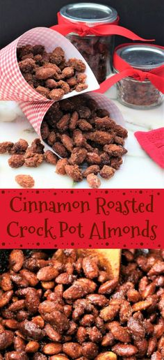 Cinnamon roasted crock pot almonds are such a wonderful gift or snack. Perfect for the holiday season. Make some for your neighbors today. The holidays are such a busy time of year. This cinnamon roas Nut Recipes, Almond Recipes, Snack Recipes, Cooking Recipes, Grilling Recipes, Cooking Tips, Cinnamon Roasted Almonds, Candied Almonds, Yummy Snacks