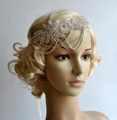 Glamour Rhinestone flapper Gatsby Headband, Chain 1920s Wedding Crystal Headband Headpiece, Bridal Headpiece, 1920s Flapper headband