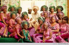 Nigerian Traditional Engagement Trend Alert: Mismatch Aso-Oke & Damask For Groom, Lace Blouse, Iro & Buba For Brides And Velvet Embroidery Iro & French Lace For The Ore-Iyawo |