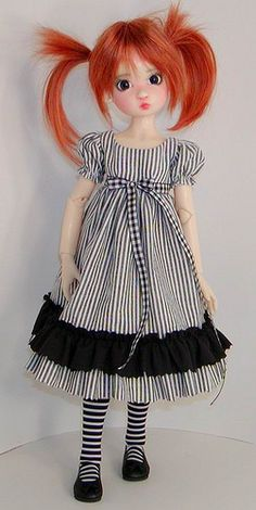Kaye Wiggs Annabella - so cute! Not a rag doll but would be so cute as one. Title: Nora finds out how she is a doll inside of Torvald's world. Pretty Dolls, Cute Dolls, Beautiful Dolls, Bjd Dolls, Doll Toys, Girl Dolls, Black White Striped Dress, Black White Stripes, Ball Jointed Dolls