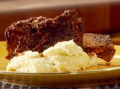 Get Red Wine Braised Beef Short Ribs Recipe from Food Network Braised Beef Short Ribs Recipe, Boneless Beef Short Ribs, Rib Recipes, Cooking Recipes, Dinner Recipes, Dinner Ideas, Budget Cooking, Skillet Recipes, Entree Recipes