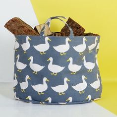 Anorak Waddling Ducks Canvas Storage Bag
