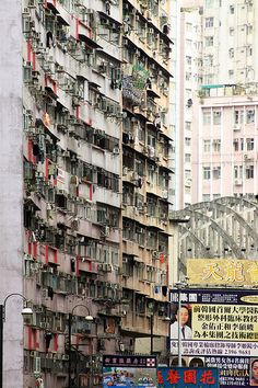 Hong Kong, over 7 million people on a small sized island. The only place to go is up.