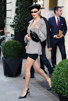 Bella Hadid Wearing Blazer and Biker Shorts in Paris | POPSUGAR Fashion Photo 1