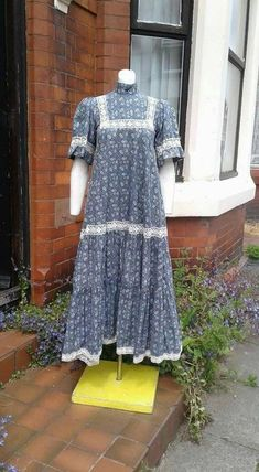 Lovely blue and white cotton printed floral and lace Laura Ashley victorian style hippy boho Summer dress holiday hippy Boho Summer Dresses, Laura Ashley, Holiday Dresses, Victorian Fashion, Hippy, White Cotton, Hippie Boho, 1960s, Blue And White