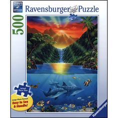"Sunset Glory Large Format 500 Piece Puzzle: Large piece format is easy to see and handle. This jigsaw puzzle measures 27"" x 20"" when complete. For ages 10 and up.  $16.99  http://www.calendars.com/Sunrise-Sunset/Sunset-Glory-Large-Format-500-Piece-Puzzle/prod201200010218/?categoryId=cat00740=cat00740#"