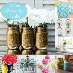 12 Cute Mason Jar Crafts - use these ideas for great ways to give gifts! ball jars, pink flowers, spray, white roses, painted mason jars, mason jar with flowers, pink mason jar white flowers, metal mason, painted jars