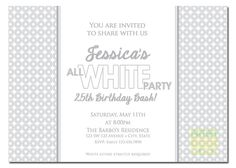 All White Party Invitation  White Party by artisacreations on Etsy