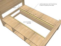DIY Projects Farmhouse Storage Bed with Storage Drawers Woodworking Plans by Ana White Bed Frame With Storage, Bed Storage, Storage Drawers, Bedroom Storage, Diy Drawers, Storage Area, Hidden Storage, Diy Bedroom, Furniture Projects