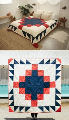 Grandfather Quilt by Vacilando Quilting Co. at Casa Joshua Tree Quilting Projects, Quilting Designs, Sewing Projects, Big Block Quilts, Quilt Blocks, Quilt Patterns, Sewing Patterns, Neutral Bed Linen, Geometric Quilt