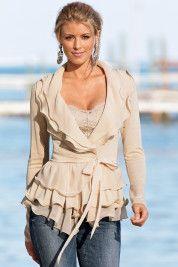 Romantic ruffle sweater jacket