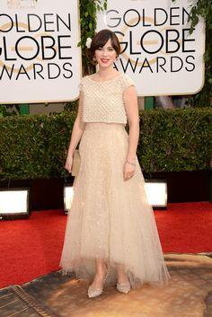Zooey Deschanel | Fashion On The 2014 Golden Globes Red Carpet via BuzzFeed