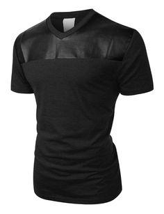 LE3NO Mens Edgy Faux Leather Slub Raglan Short Sleeve T Shirt