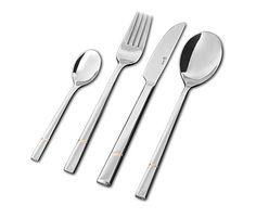 Luxus Rille Vergoldet-aterimet Lahjapakkaus. Sisältö: 6 kpl kahvilusikka, 6 kpl ruokalusikka, 6 kpl ruokahaarukka, 6 kpl ruokaveitsi.