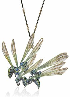 RENÉ LALIQUE - AN ART NOUVEAU ENAMEL AND DIAMOND 'WASP' PENDANT/BROOCH, CIRCA 1906. Modelled as five enamelled wasps, with long window enamel wings and diamond accents, to the enamel and gold chain, pendant 9.0 cm, with French assay marks for gold, signed Lalique.