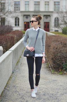 VOGUE HAUS: Grey Knit Sweater, Chanel Boy Bag, Topshop Black Ripped Jeans, Converse Sneakers http://FashionCognoscente.blogspot.com