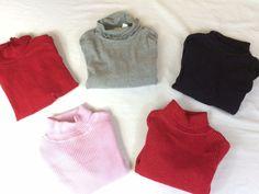 Lot of 5 Girls Turtleneck Size 5 Red Gray Sparkle Red Pink Black Bundle Greendog #TheChildrensPlaceandothers #Everyday