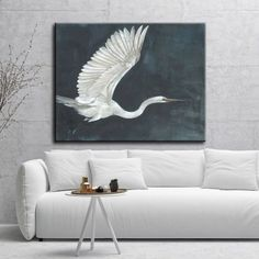 """Shop Norman Wyatt Home """"Night Flying"""" White/ Blue Bird Gallery Wrapped Canvas Art - Overstock - 23098956 - 30 x 40"""