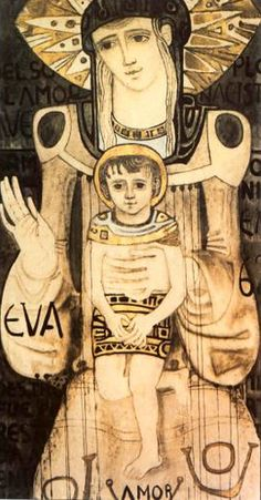 CAAL CENTRO LITURGICO ROMA. Kiko Arguello , Maria Nuova Eva, dipinto in stile Art Noveau.1962. Christian Paintings, Christian Art, Mother And Child Painting, Biblical Art, Madonna And Child, Catechism, Orthodox Icons, Blessed Mother, Mother Mary