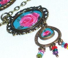 Boho Hand Paint Pendant Necklace Bohemian by GoddessArtCollection