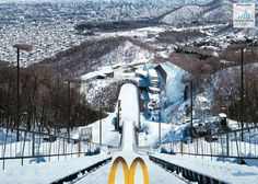 Olympics ski jumping ad, by Mc Donalds