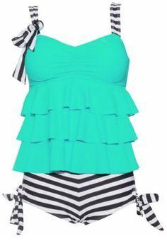 Stylish Spaghetti Strap Striped Multi-Layered Women's Swimsuit Swimwear Vintage Swimsuits, Women Swimsuits, Swimsuits 2014, Maternity Swimsuit, Pregnancy Swimsuit, Best Swimwear, Swimwear Fashion, Bikini Swimwear, Bikinis