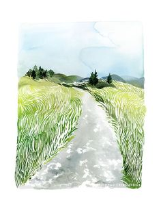 Landscape of Grass No. 1 Watercolor Art Print by YaoChengDesign