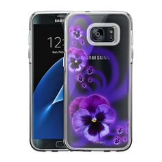 Samsung Galaxy S7 Edge Painted Purple Pansies Case