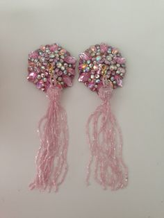 Snowy Sparkly Pink Diamond Pasties with Pink Tassels