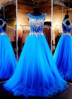 Generous Tulle Beading Long Pageant Evening Dress Prom Ball Party Formal Dresses