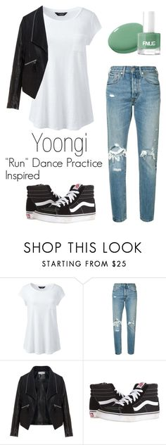 """Yoongi ""Run"" Dance Practice Inspired Outfit"" by mochimchimus on Polyvore featuring Lands' End, Levi's, Zizzi, Vans and bts"