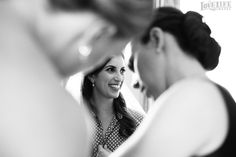 """Sweet Hotel Monaco DC Wedding. Even in b&w the bride's features are beautifully defined in the """"friend frame"""" here.  Makeup by Shaune'"""