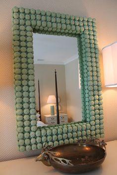 Spray paint shells for unique mirror