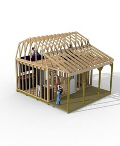 This tiny house is in size has room for sleeping in the loft and on the first level a sitting area kitchen bathroom and stairway up to the bedroom. Learn more about building this tiny house at my website. Porch Plans, Diy Shed Plans, Cabin Plans, Small Barn Plans, Small Barns, Storage Shed Kits, Storage Beds, Barns Sheds, Backyard Sheds