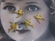 Raw Brass Sparrow Charms 307RAW x4 by dimestoreemporium on Etsy, $2.75
