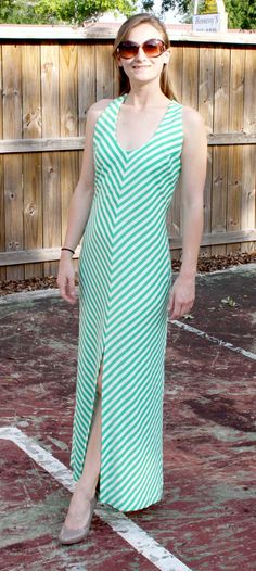 Vintage 1970s Green and White Striped Maxi Dress (Medium)