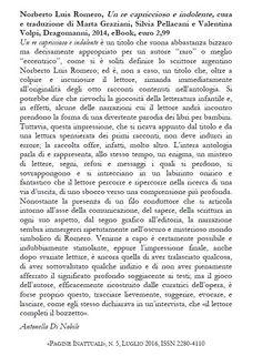 Norberto Luis Romero, Un re capriccioso e indolente (e-book, Dragomanni, 2014) - Recensione su Pagine Inattuali (luglio 2016) http://www.pagineinattuali.com/recensioni.html