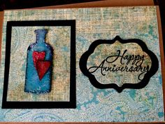Happy anniversary card using tim Holtz apocathary bottle die and hearts made from grunge board and inka gold ink