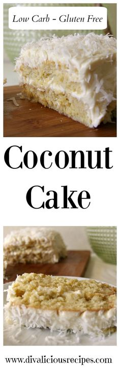 This low carb and gluten free coconut cake is very moist in texture. It is for coconut lovers as it's made with coconut flour and decorated with coconut. Recipe: http://divaliciousrecipes.com/2017/03/30/coconut-cake-low-carb-coconut-frosting/