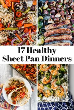 Seventeen Healthy Sheet Pan Dinners – Slender Kitchen Seventeen Healthy Sheet Pan Dinners that make dinner a breeze! There is nothing better than a meal that is cooked entirely on one sheet pan, especially when it is good for you! Clean Eating Recipes, Healthy Dinner Recipes, Healthy Eating, Cooking Recipes, Healthy Dinners, Pan Cooking, Crockpot Recipes, Vegetarian Recipes, Clean Dinners