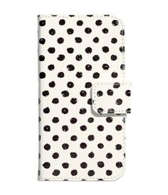 White smartphone case with preppy polka dot print. Fits iPhone 6. | H&M Accessories