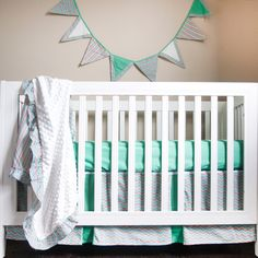 This crib bedding set fit for your strikingly handsome man will make any neutral nursery the best of it's kind.