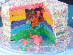 Rainbow surprise cake Surprise Cake, Birthday Cake, Rainbow, Cakes, Desserts, Food, Tailgate Desserts, Birthday Cakes, Rainbows