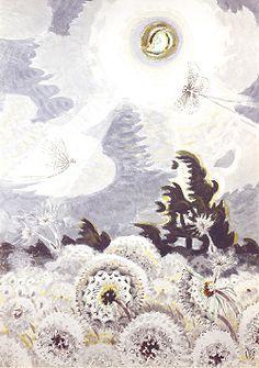 Dandelion Seed Heads and the Moon, Charles Burchfield.