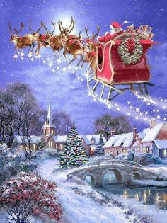 christmas scenes 40 Beautiful Christmas Painting Ideas to Try This Season - Page 2 of 3 - Bored Art Christmas Travel, Noel Christmas, Vintage Christmas Cards, Christmas Greetings, Winter Christmas, Christmas Crafts, Christmas Decorations, Ecards Christmas, Christmas Ideas