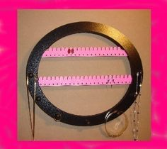 Earring and NECKLACE rack PINK 7 PEGS Wall mount by LangtonStudio