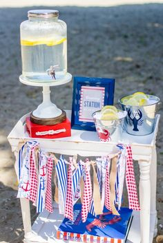 "If there isn't a restroom nearby, a genius hand-washing station will keep guests feeling fresh after they've feasted at the ""crawDAD"" cookout. Shrimp Boil Party, Hand Washing Station, Low Country Boil, Seafood Menu, Kate Aspen, 20th Birthday, Party Planning, Fathers Day, Party Time"